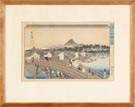 Japanese Wood Block Print  Bridge scene