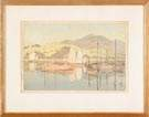 "Japanese Wood Block Print  ""Waiting for the tide"""