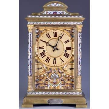 Monumental Fine Bronze & Enameled Shelf Clock