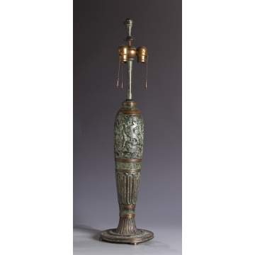 Sgn. Oscar Bach Bronze Relief Lamp Base
