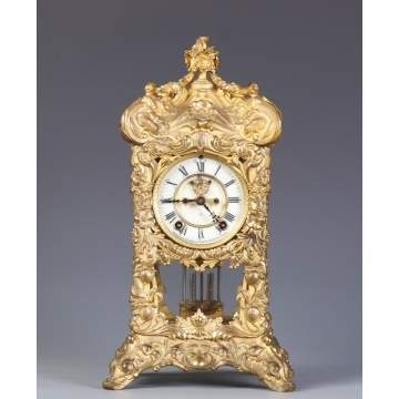 Ansonia Fancy Gilt Brass Shelf Clock