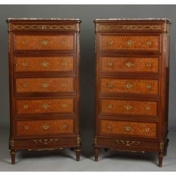 Pair of F. Linke French Marquetry Inlaid Mahogany Sideboard w/Bronze Mounts