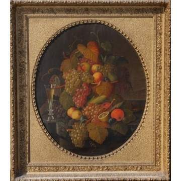Unsgn. 19th Cent. Still Life of Fruit w/wine glass