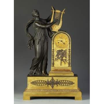 Fine French Neoclassical Bronze & Gilt Bronze Clock