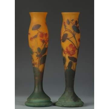 Pair of Sgn. Daum Nancy 3 Color Cameo Vases