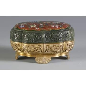Fine Carved Jade & Bronze Covered Box