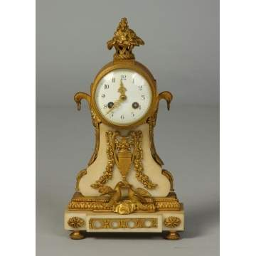 19th Cent. French Marble & Bronze Diminutive Shelf Clock