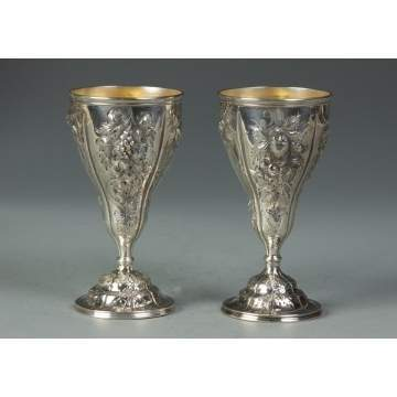 Pair of Coin Silver Goblets w/Repousse Fruit