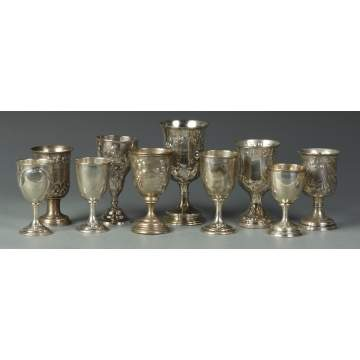 10 Coin Silver Goblets