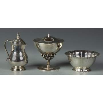 Sterling Covered Compote & Sterling Pitcher with Bowl