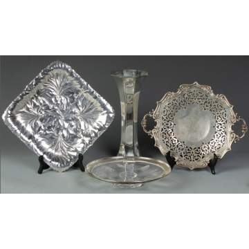 Cut Glass Platter, Sterling Vase and 2 Sterling Trays