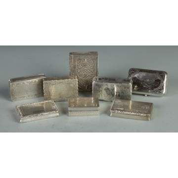Group of 8 Silver Covered Boxes