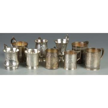 Group of 9 Silver Children's Cups