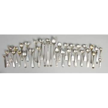 Group of coin silver salt spoons