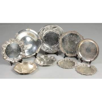 Group of silver plate serving trays