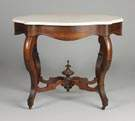Rosewood Turtle-top Marble Table