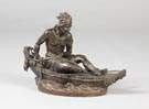 Sgn. Ducholselle Patinated Bronze Indian in Canoe