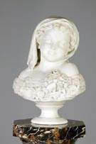 Thomas Ball (American, 1819-1911) Carved Marble Bust of Young Girl on Marble Pedestal
