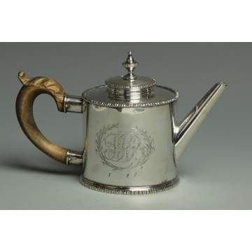 Richard Humphrey's Sterling Silver Drum Shaped Tea Pot, Philadelphia, PA, 18th Cent.