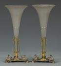 Pair of Silver Patinated Brass & Glass Vases