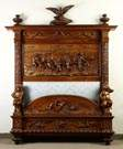 Luigi Frullini (Florence, 1839-1897) Monumental Victorian Masterfully Carved Walnut Bed