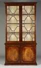 2 Pc. George III Inlaid Figured Mahogany Bookcase