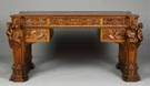 Luigi Mastrodonato Masterfully Carved Walnut Desk