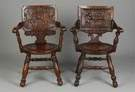 2 Carved Oak Pub Chairs