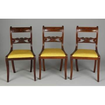 3 Period Side Chairs w/Carved Eagle, attr. to workshop of Duncan Phyfe, NY