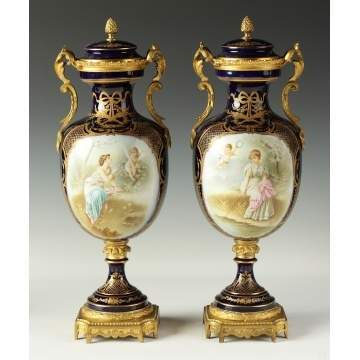 Pair of Sevres Covered Urns