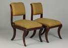 Pair of Empire Style Mahogany Side Chairs w/Similar Footstools