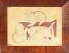 Mid 19th Cent. W/C on Paper of 3 Kittens on Red Stool