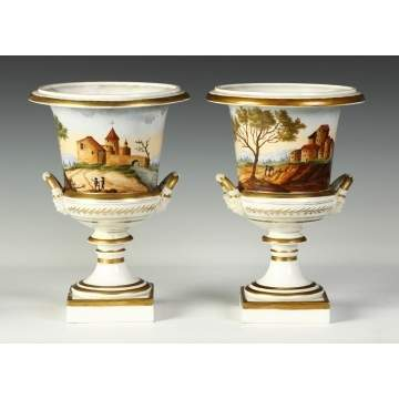 Pair of Old Paris Porcelain Urns