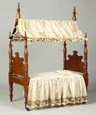 Fine & Rare 19th Cent. Tiger Maple Country Sheraton Child's Canopy Bed
