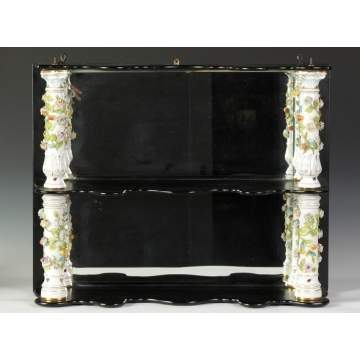 19th Cent. Porcelain & Ebonized Wood 2 Tier Shelf
