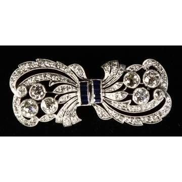 Ladies Vintage Platinum, Diamond & Sapphire Brooch