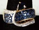 Ladies 18k Yellow & White Gold, Sapphire & Diamond Ring