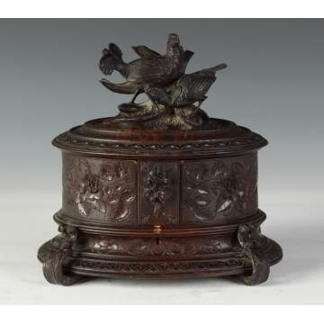Carved Black Forest Jewelry Box w/Birds