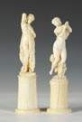 Pair of 19th Cent. Carved Ivory Classical Women