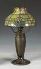 Sgn. Tiffany Studios, NY, Bronze Lamp Base w/ Leaded Glass Shade