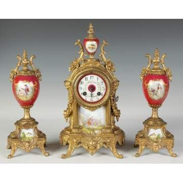 3 Piece French Clock Set w/Porcelain Panels
