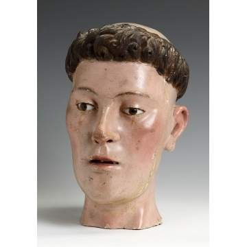 Carved & Polychrome Wooden Head from a Spanish Altar