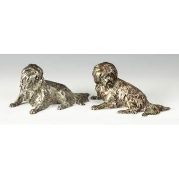 Pair of Silver Plated Shih Tzu Dogs