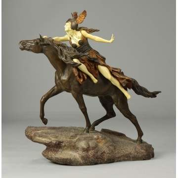 "Claire Jeanne Roberte Colinet (French, 1885-1948) ""Valkyrie, Into the Unknown"" Bronze & Ivory Sculpture"