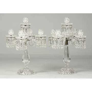 Pair of Cut Glass Candelabras