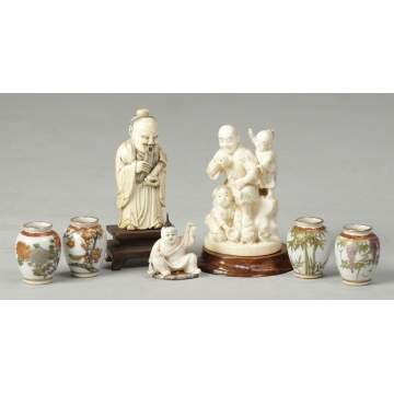 Satsuma Jars, Snuff Bottle & Carved Ivory