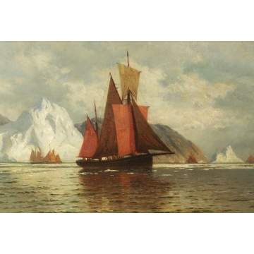 William Bradford (American, 1823-1892) Sailing vessels w/icebergs in distance