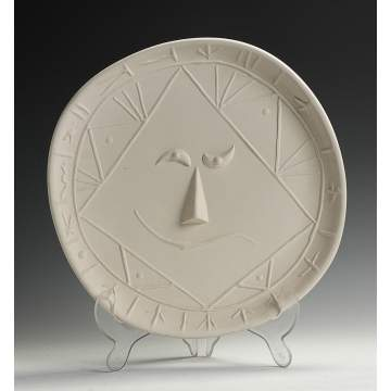 "Pablo Picasso ""Visage"" Ceramic Plate by Madoura Pottery"