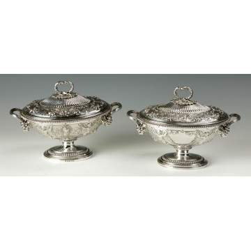 A Fine & Rare Pair of Digby Scott & Benjamin Smith Covered Sauce Tureens