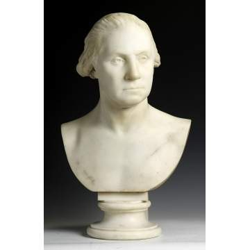 Period Carved Marble Bust of George Washington